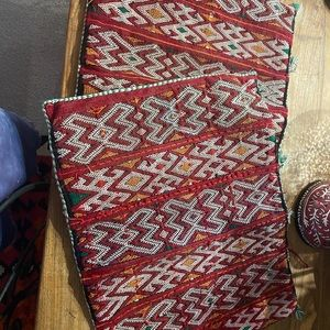 2 Moroccan pillow cases for lounge.  Bought in Morocco 15 years ago.
